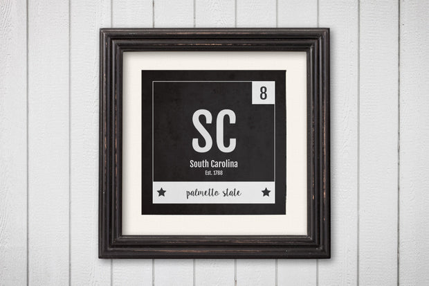 South Carolina Print - Periodic Table South Carolina Home Wall Art - Vintage - Black and White - State Art Poster
