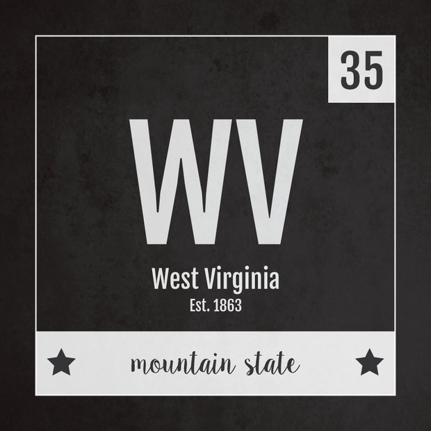 West Virginia US State Print