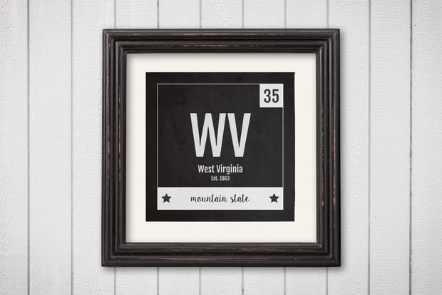 West Virginia Print - Periodic Table West Virginia Home Wall Art - Vintage - Black and White - State Art Poster