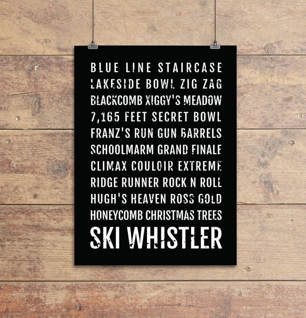 Ski Whistler British Columbia Subway Poster