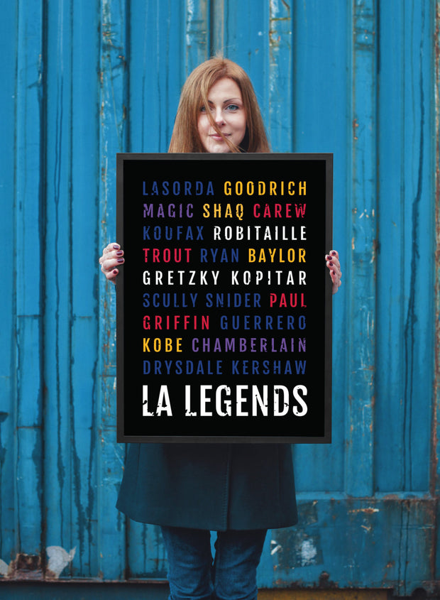 Los Angeles Legends Print - Lakers Man Cave Poster - LA Dodgers Print
