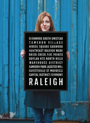 Raleigh Print - Neighborhoods - Raleigh Subway Poster