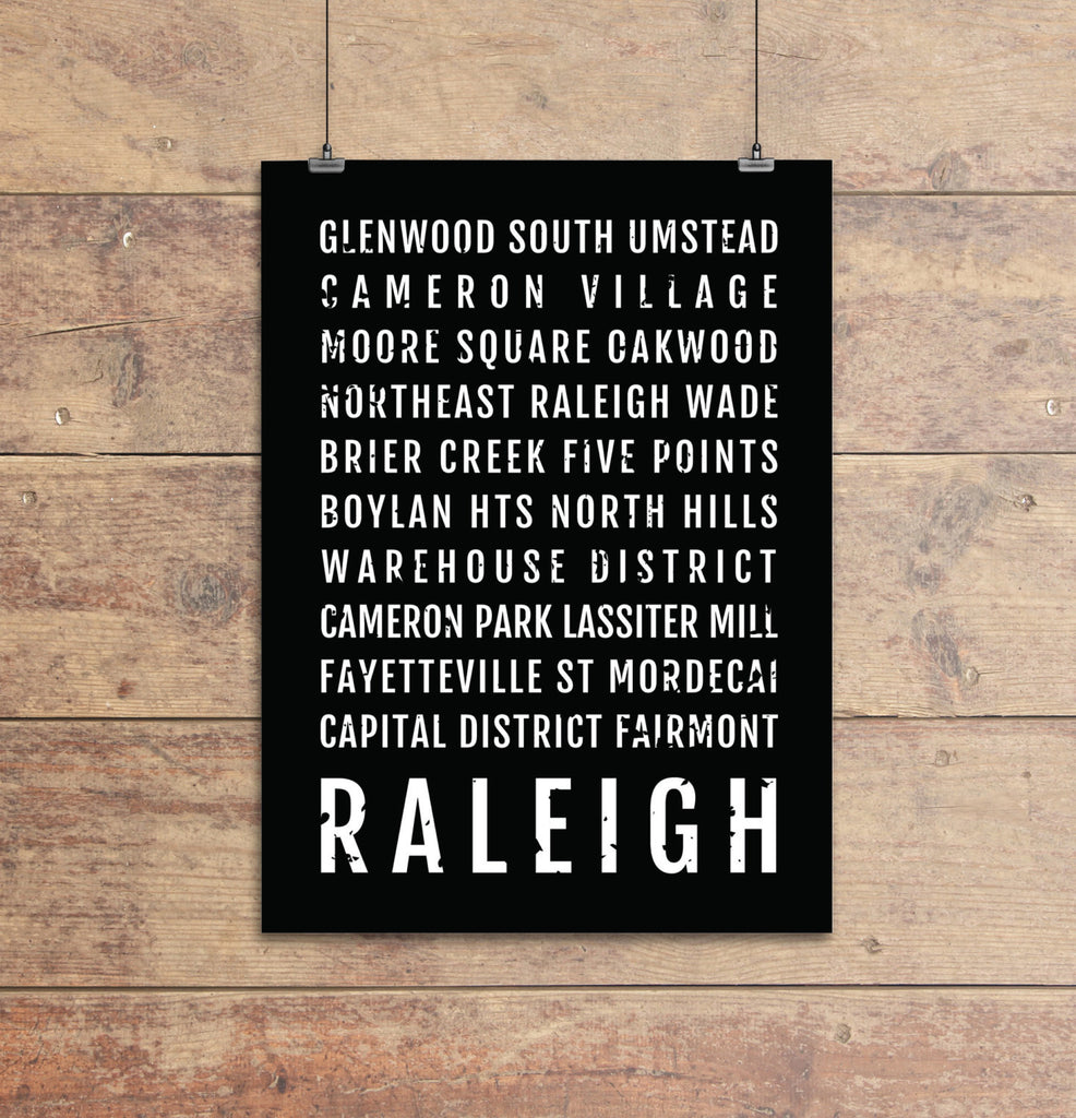 Raleigh Neighborhoods Subway Poster