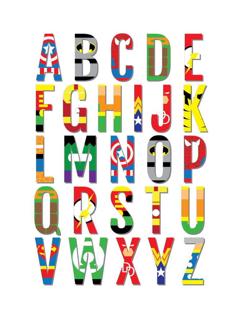 Superhero Alphabet Nursery Amp Kids Room Print Sproutjam