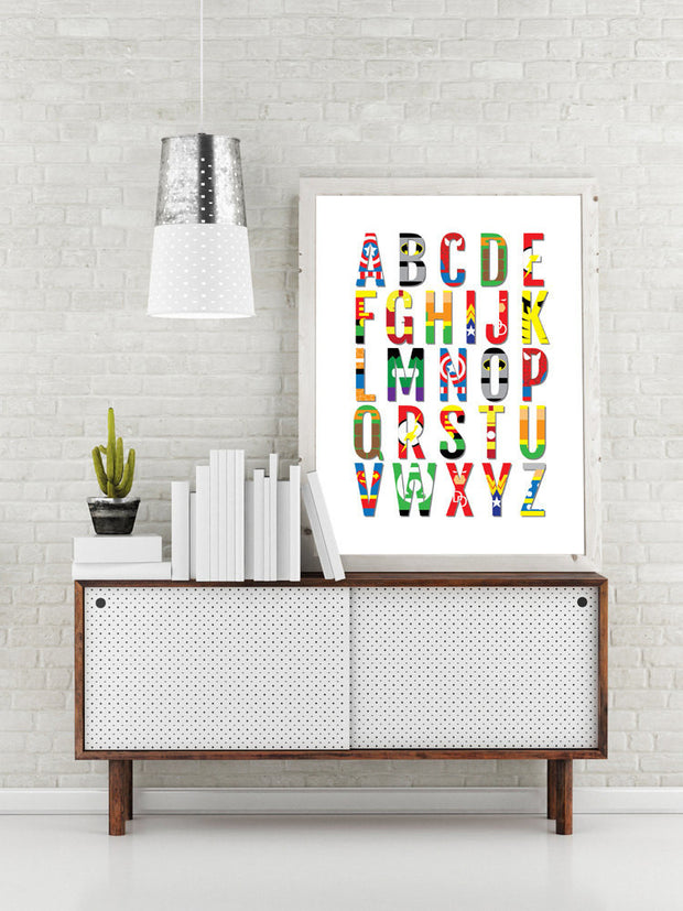 Superhero Nursery Print - Alphabet Comic Book Poster