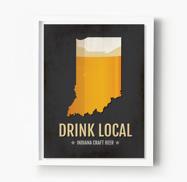 Indiana Beer Print Map