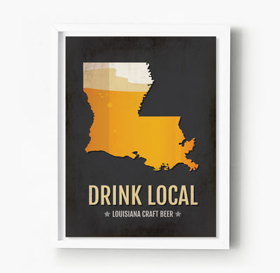 Louisiana Beer Print Map