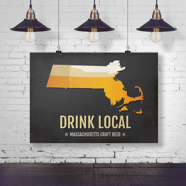 Massachusetts Beer Print Map