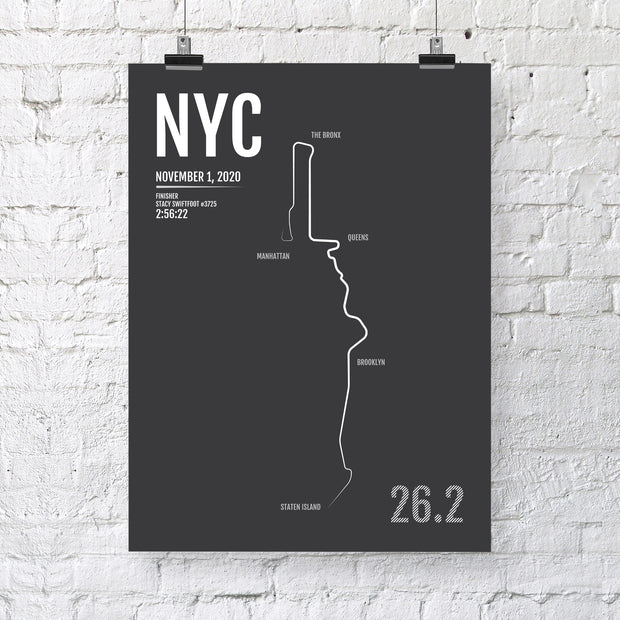New York City Marathon Map Print - NYC Personalized for 2020