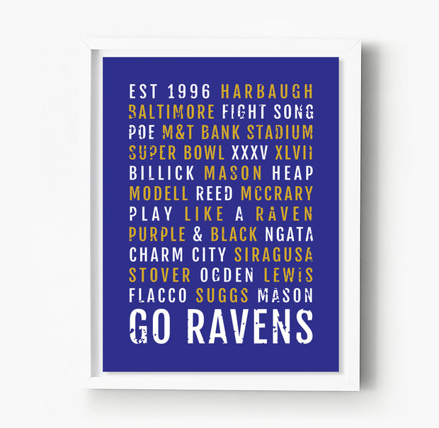 Baltimore Ravens Subway Poster