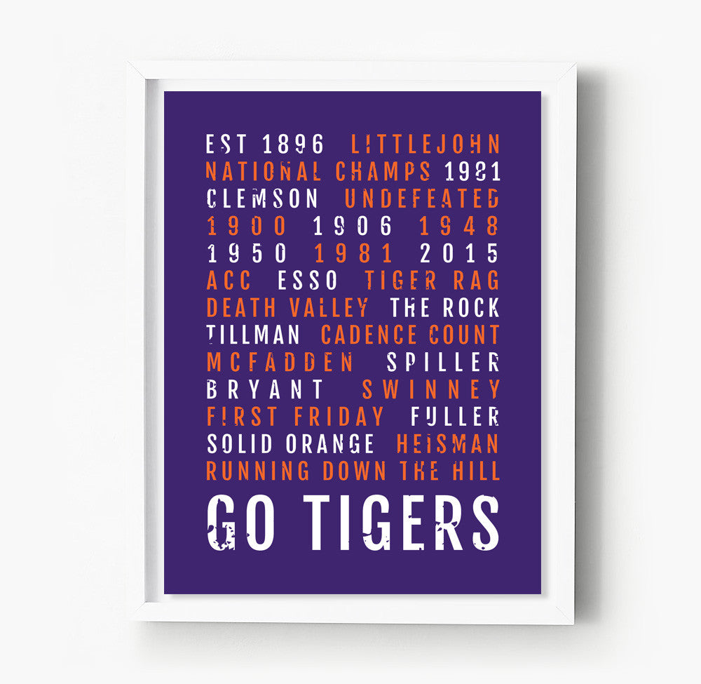 Clemson Tigers Subway Poster