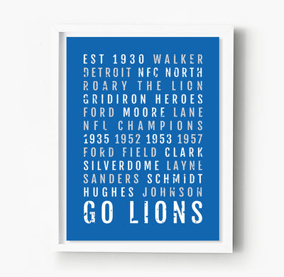 Detroit Lions Subway Poster