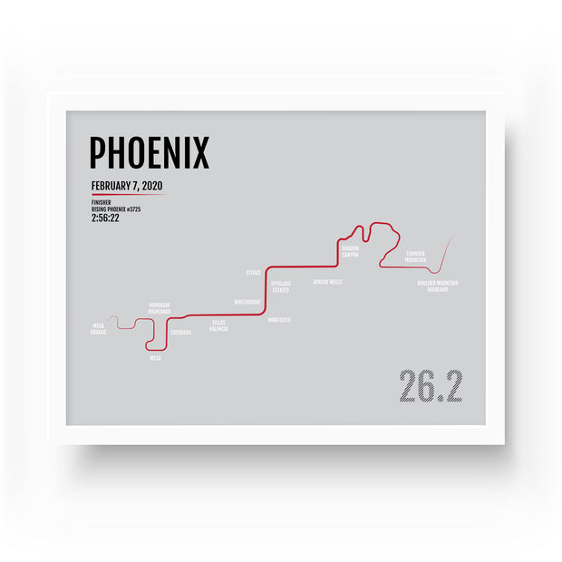 Phoenix Marathon Map Print - Personalized for 2020
