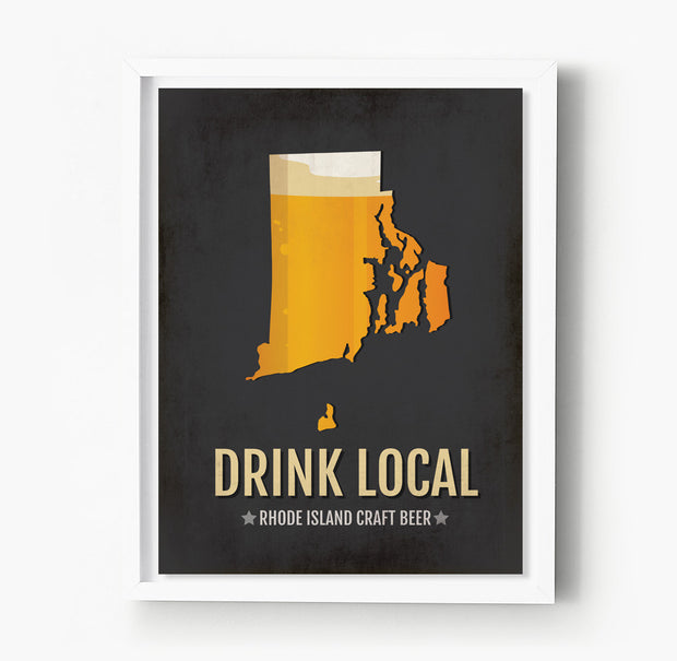 Rhode Island Beer Print Map