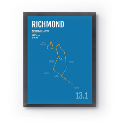 Richmond Marathon Map Print - Personalized for 2020