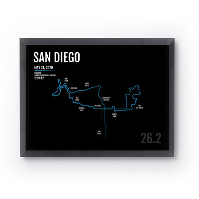 San Diego Marathon Map Print - Personalized for 2020