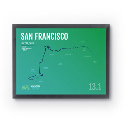 San Francisco Half Marathon Map Print - Personalized - 1st Half