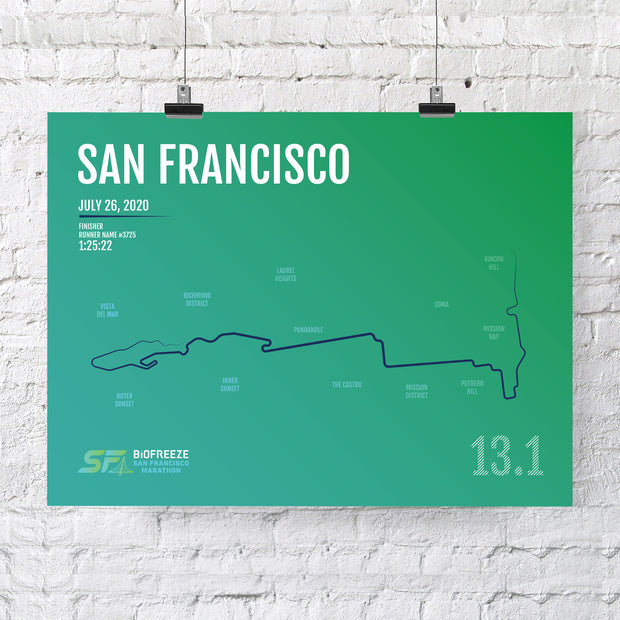 San Francisco Half Marathon Map Print - Personalized - 2nd Half