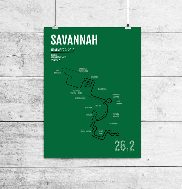 Savannah Marathon Map Print - Personalized for 2018