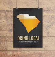 South Carolina Beer Print Map