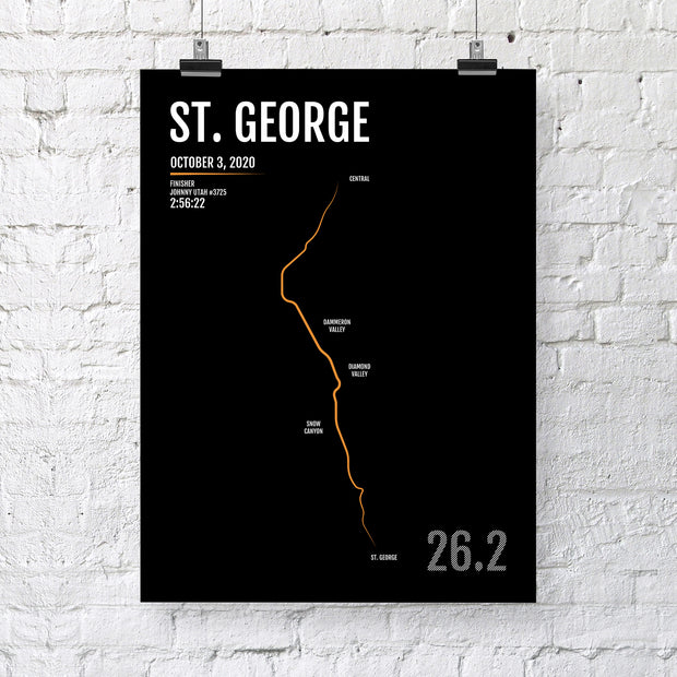 St. George Utah Marathon Map Print - Personalized for 2020