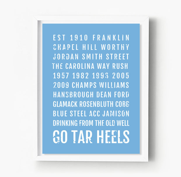 North Carolina Tarheels Subway Poster
