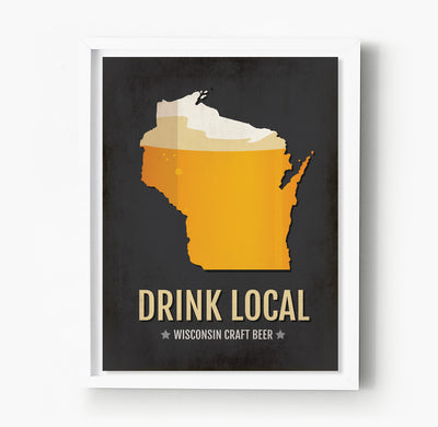 Wisconsin Beer Print Map