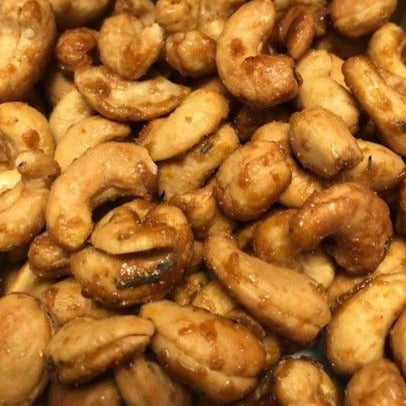 Large cashews in a rosemary garlic maple glaze