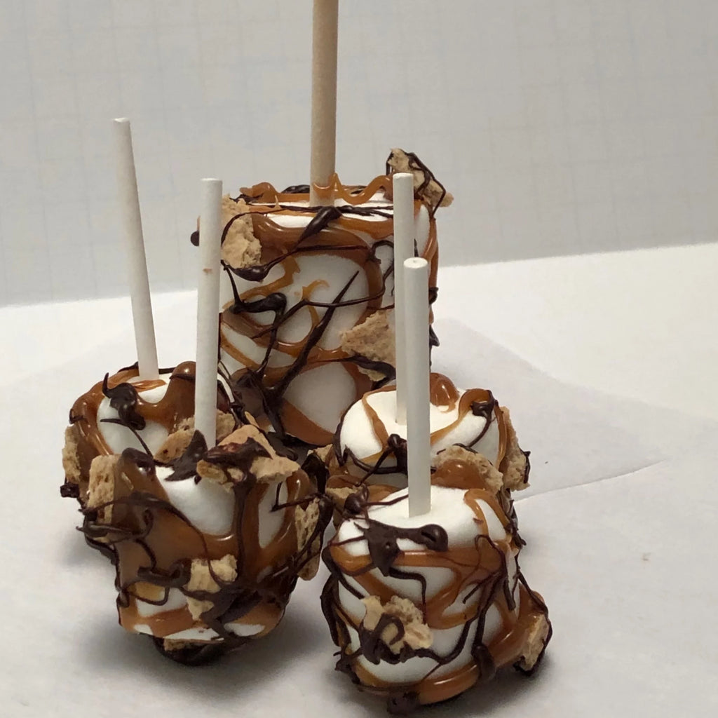 Large and small marshmallows on a stick drizzled with caramel graham crackers and chocolate