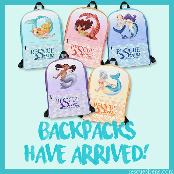 """Rescue Sirens: Mermaids On Duty"" backpacks"
