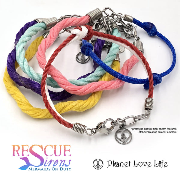 "Salvaged ghost net bracelets made by Planet Love Life, inspired by the lifeguard mermaids of ""Rescue Sirens"""