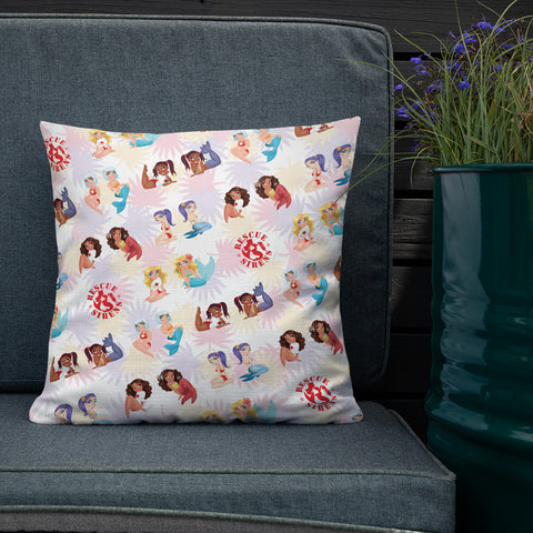 "Gabby Zapata ""Rescue Sirens"" mermaid throw pillow"