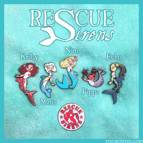 """Rescue Sirens"" mermaid enamel pins"