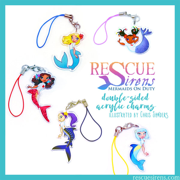 """Rescue Sirens"" acrylic charms by Chris Sanders"