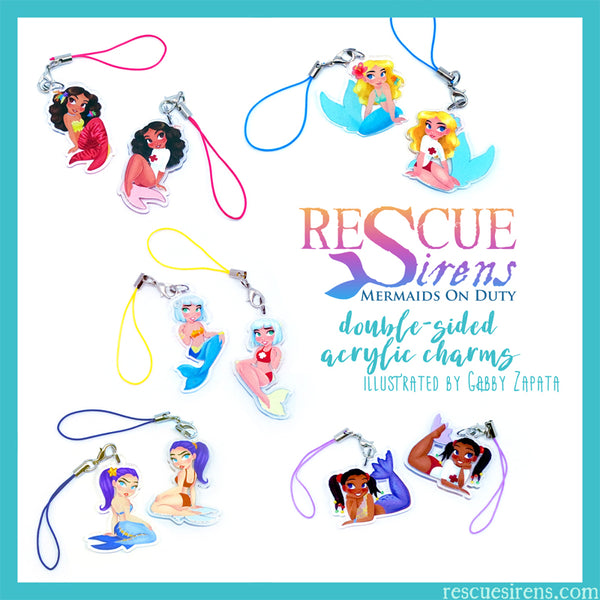 """Rescue Sirens"" acrylic charms drawn by Gabby Zapata"