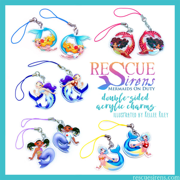 """Rescue Sirens"" acrylic charms by Kellee Riley"