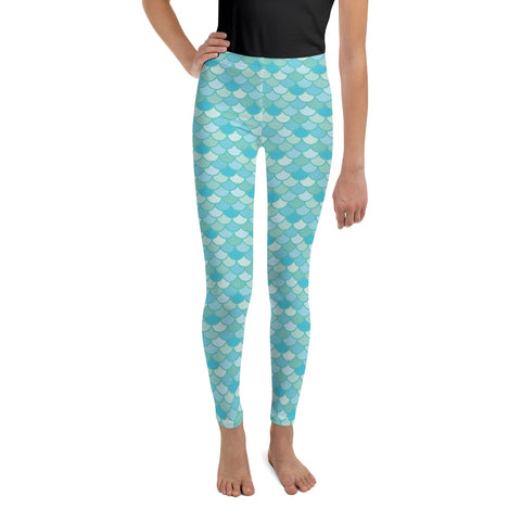 Nim Aqua - Classic Mermaid Scales Leggings - Youth