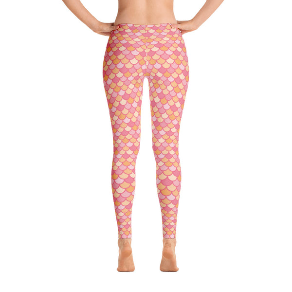 Kelby Coral - Classic Mermaid Scales Leggings - Adult