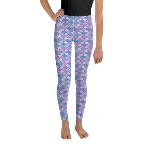 Pippa Purple - Classic Mermaid Scales Leggings - Youth