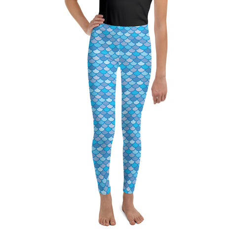 Echo Navy Blue - Classic Mermaid Scales Leggings - Youth