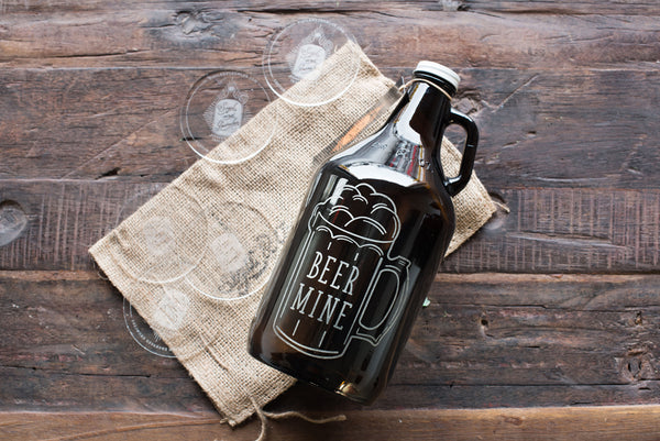 Beer Mine Personalized growler design with etching by Sigil & Growler