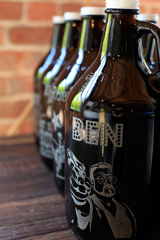 Lined up and ready to go, these custom engraved groomsmen growlers are ready to fulfill their duties, as awesome tokens of appreciation.