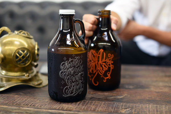 Personalized 32oz mini growlers by Sigil and Growler with your design