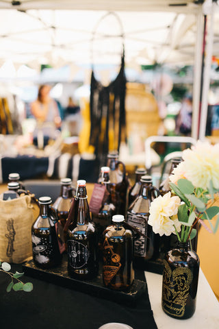 Growlers for centerpieces for flowers