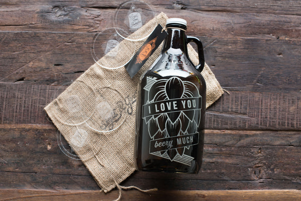 Hops design engraved and persoalized beer growler