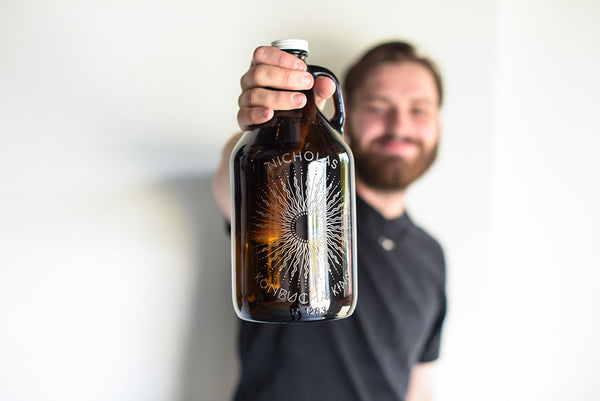 reusable engraved kombucha growler with design