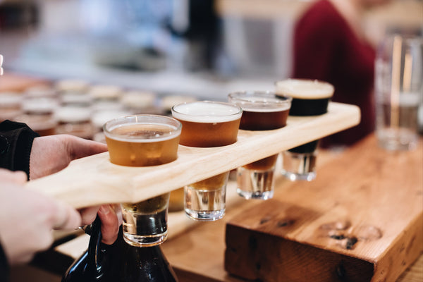 Craft beer flights at Off the Rail Brewing Vancouver