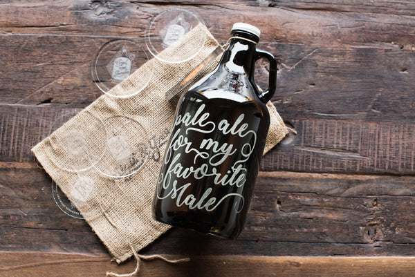 Typography style 64oz beer growler with engraving and personalization by Sigil & Growler