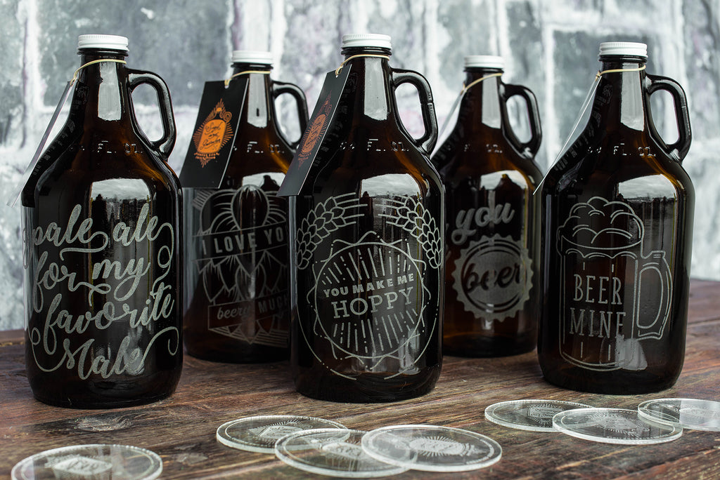Personalized Beer growlers for Valentine's Day gifts by Sigil & Growler