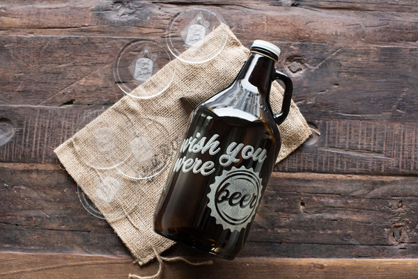 Wish you were Beer engraved beer growler for Valentine's Day by Sigil & Growler